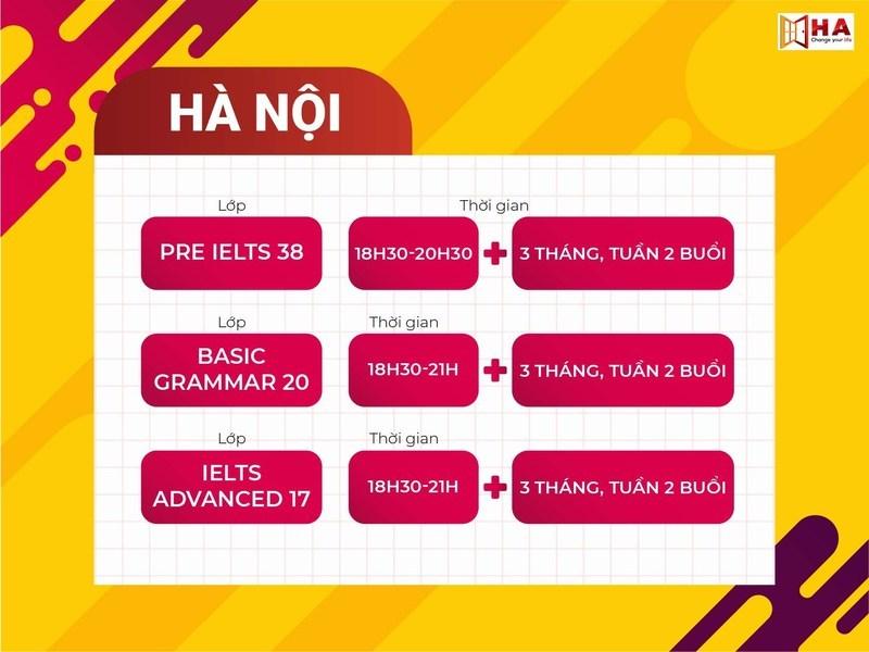 Lịch khai giảng các khóa học IELTS dự kiến tháng 9 cơ sở Hà Nội