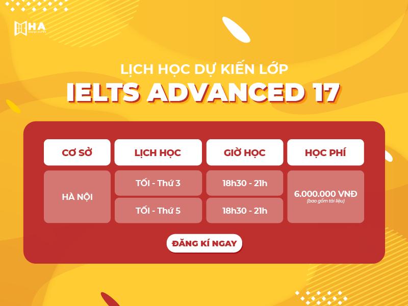 lớp học IELTS ADVANCED 17 tại Hà Nội