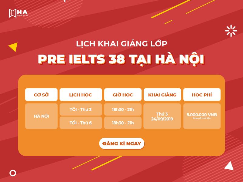 Lớp Pre IELTS 38 tại Hà Nội