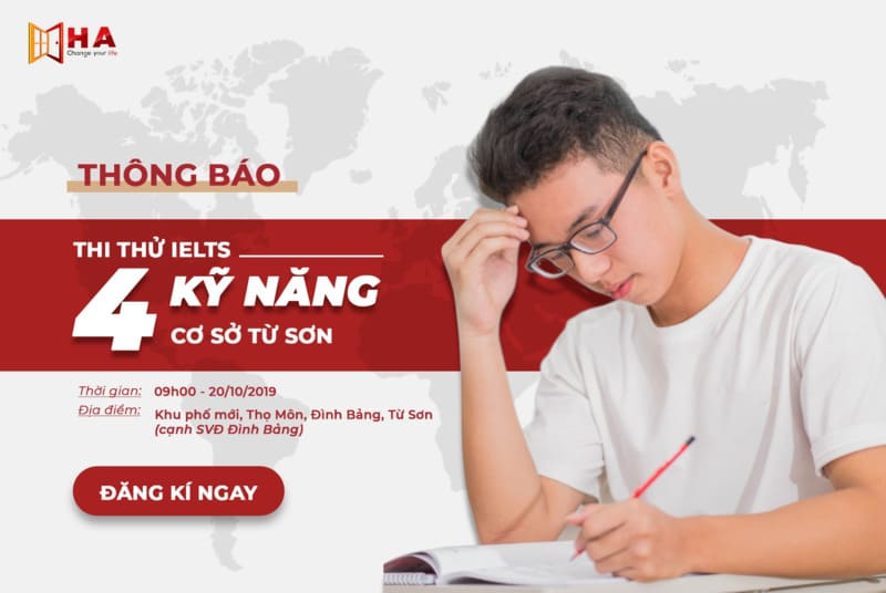 Thi thử IELTS 4 kỹ năng chuẩn quốc tế cơ sở Từ Sơn Bắc Ninh