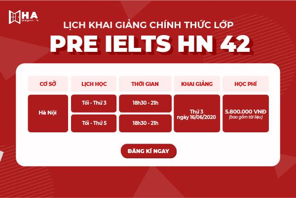 khóa pre ielts 42 tại trung tâm tiếng anh Hà Nội HA Centre
