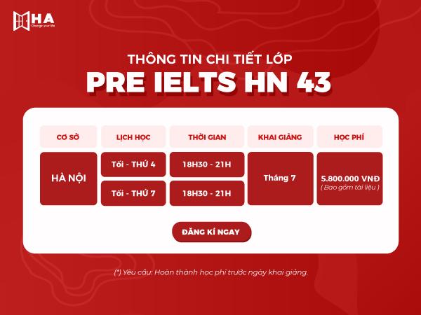 Khóa pre ielts 43 tại trung tâm tiếng Anh HA Centre cs Hà Nội