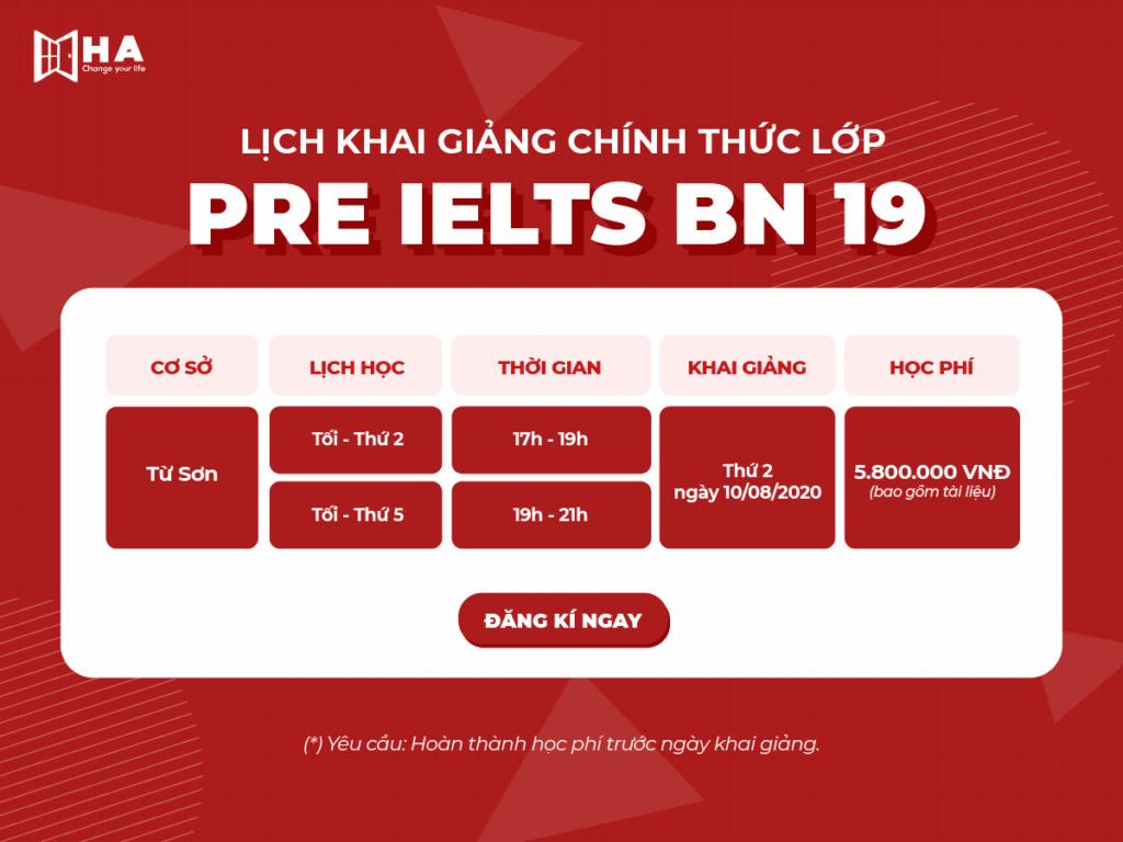 Lịch học Chính thức lớp Pre IELTS BN 19 cơ sở Từ Sơn