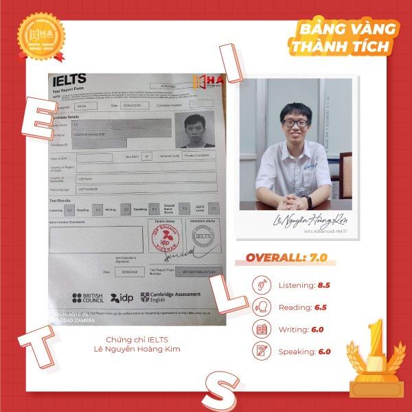 học viên bảng vàng thành tích Lê Nguyễn Hoàng Kim