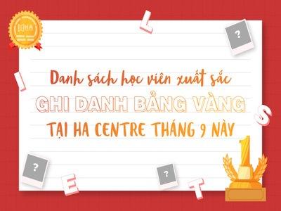 Tháng 9 thu sang, học viên HA hân hoan nhận bảng vàng thành tích