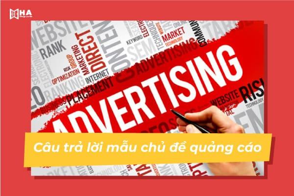 Câu trả lời mẫu chủ đề quảng cáo