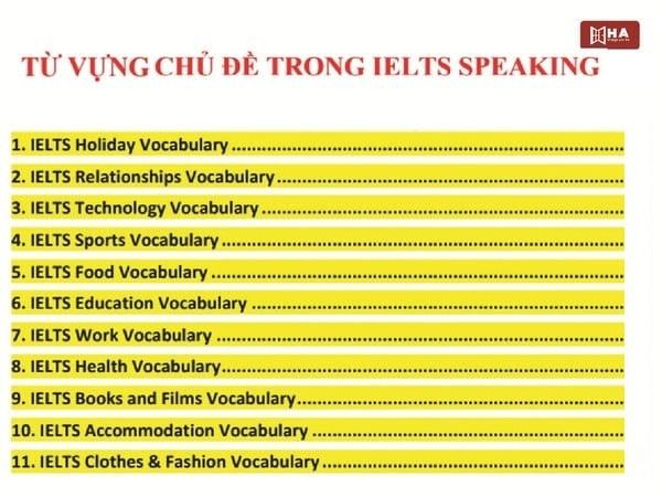 Tổng hợp từ vựng IELTS Speaking 15 chủ đề mới nhất