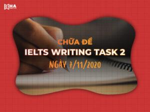 Chữa đề IELTS Writing task 2 ngày 7/11/2020