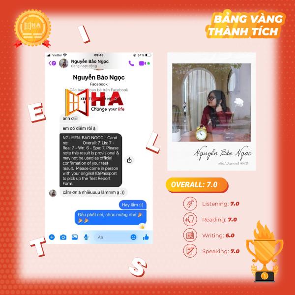 HVXS Nguyễn Bảo Ngọc đạt 7.0 IELTS tại trung tâm tiếng Anh HA Centre