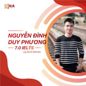 Nguyễn Đình Duy Phương đạt 7.0 IELTS tại trung tâm anh ngữ HA Centre