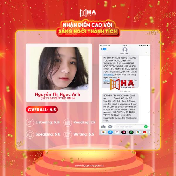 Nguyễn Thị Ngọc Ánh học viên xuất sắc tháng 11 đạt 6.5 IELTS tại trung tâm tiếng Anh HA Centre