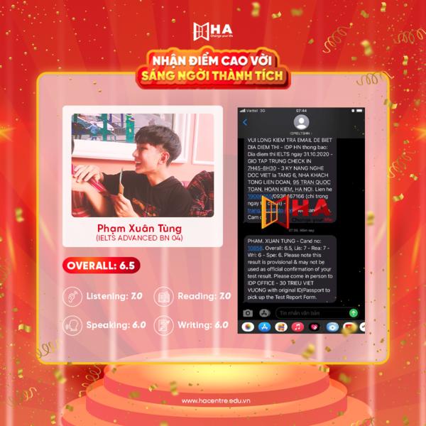 Phạm Xuân Tùng học viên xuất sắc tháng 11 đạt 6.5 IELTS tại trung tâm tiếng Anh HA Centre