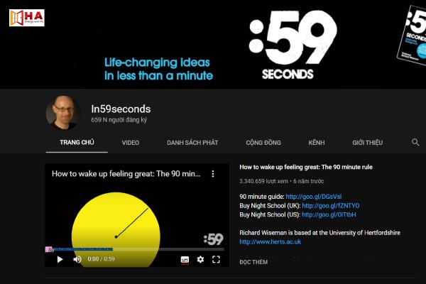 kênh youtube học tiếng anh hiệu quả Kênh In59seconds