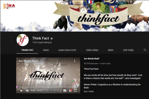 kênh youtube học tiếng anh hiệu quả Kênh Think Fact