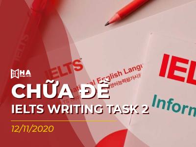 Chữa đề IELTS Writing task 2 ngày 12/11/2020