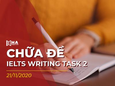 Tham khảo chữa đề Writing IELTS task 2 ngày 21/11/2020