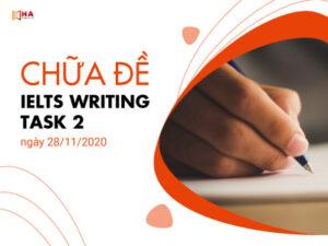 Chữa đề IELTS Writing task 2 ngày 28/11/2020