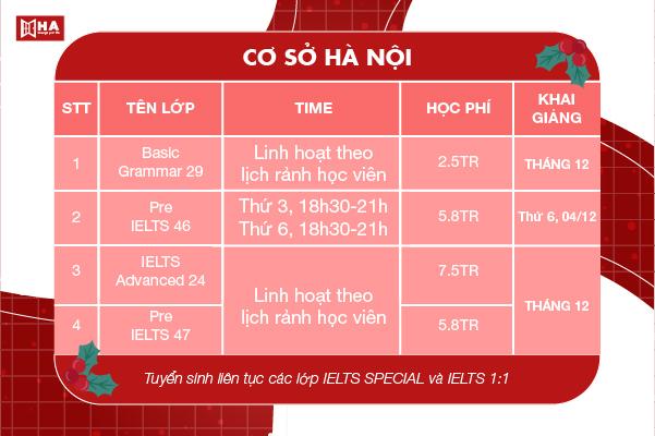 Khai giảng khóa học tháng 12/2020 cs Hà Nội HA Centre