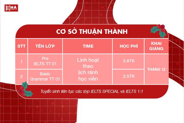 Khai giảng khóa học tháng 12/2020 cs Thuận thành HA Centre