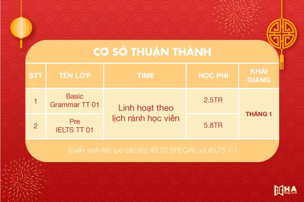 Khai giảng khóa học tháng 1/2021 cs Thuận thành HA Centre