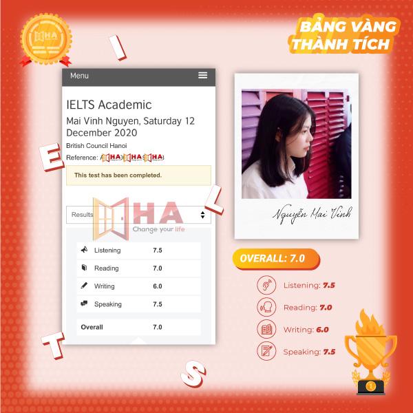 Nguyễn Mai Vinh đạt 7.0 IELTS tại trung tâm HA Centre