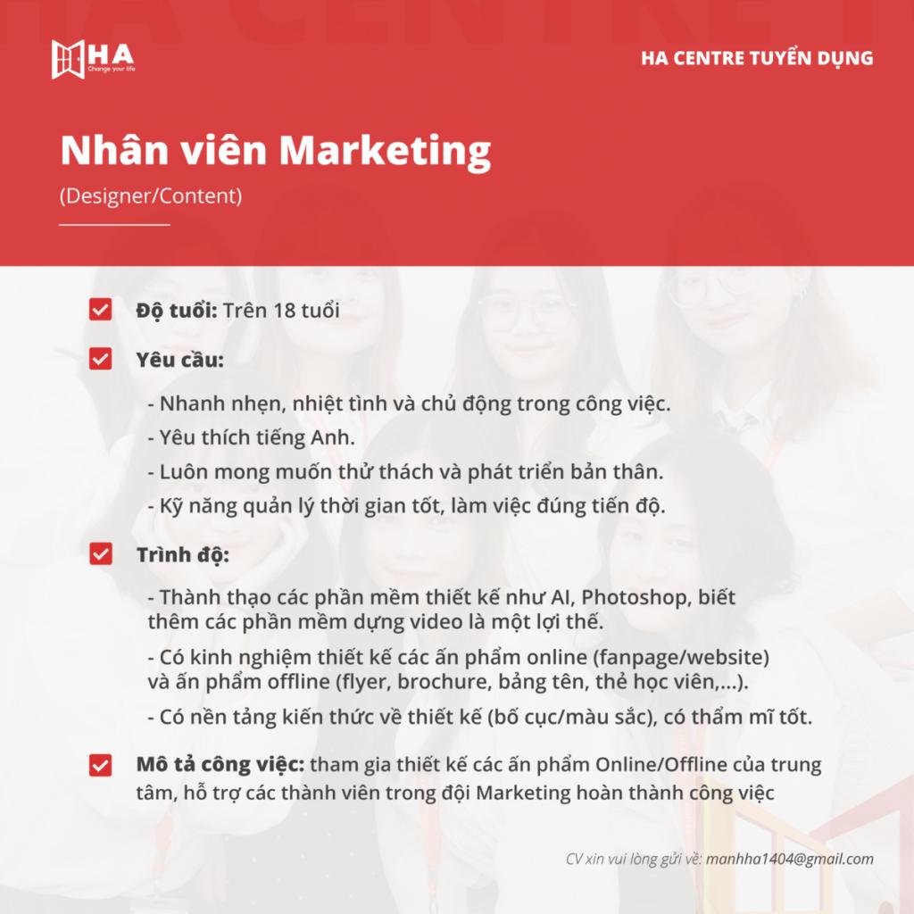 HA Centre tuyển dụng nhân viên Marketing 2021