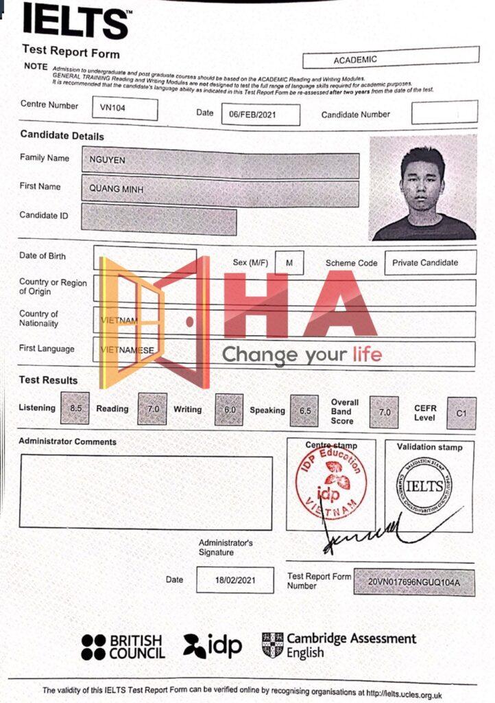 Bảng Nguyễn Quang Minh đạt 7.0 IELTS tại trung tâm tiếng Anh HA Centre
