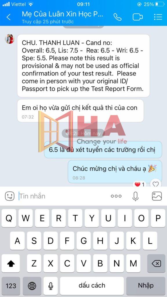 Chu Thành Luân đạt 6.5 IELTS tại Trung tâm tiếng HA Centre