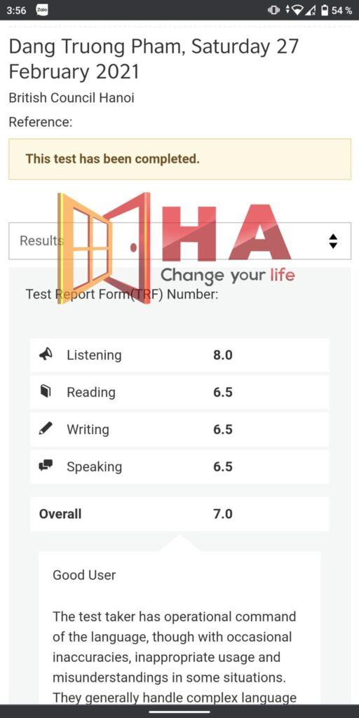 Pham Dang Truong đạt 7.0 trung tâm tiếng anh HA Centre