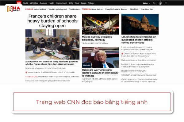 trang web đọc báo bằng tiếng anh CNN