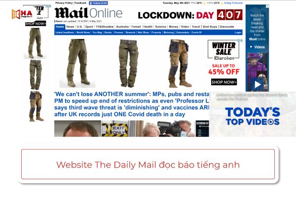 trang web đọc báo bằng tiếng anh The Daily Mail