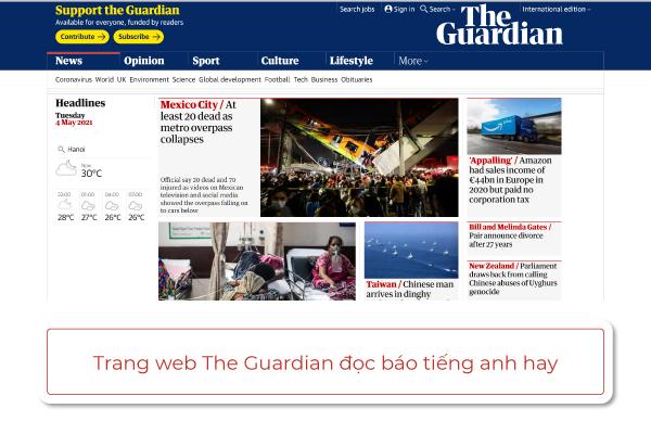 trang web đọc báo bằng tiếng anh The Guardian