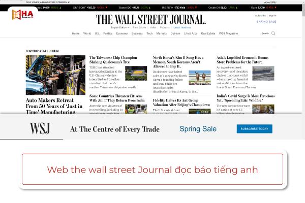 trang web đọc báo bằng tiếng anh The Wall Street Journal