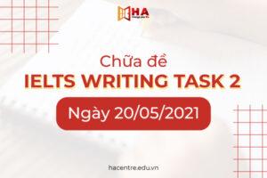 Chữa đề IELTS Writing task 2 ngày 20/05/2021