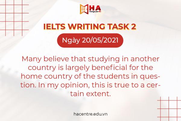 đề IELTS Writing task 2 ngày 20/05/2021